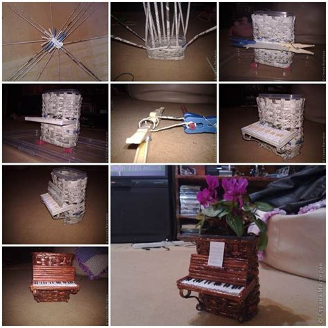 How To Make Paper Flower Pots - diy woven paper piano flower pot