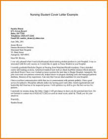 nursing student cover letter sle application letter for nursing
