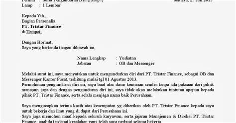 contoh surat pengunduran diri winarko