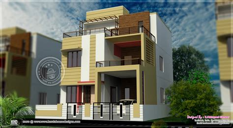 3 story house plan design in 2626 sq style house 3d
