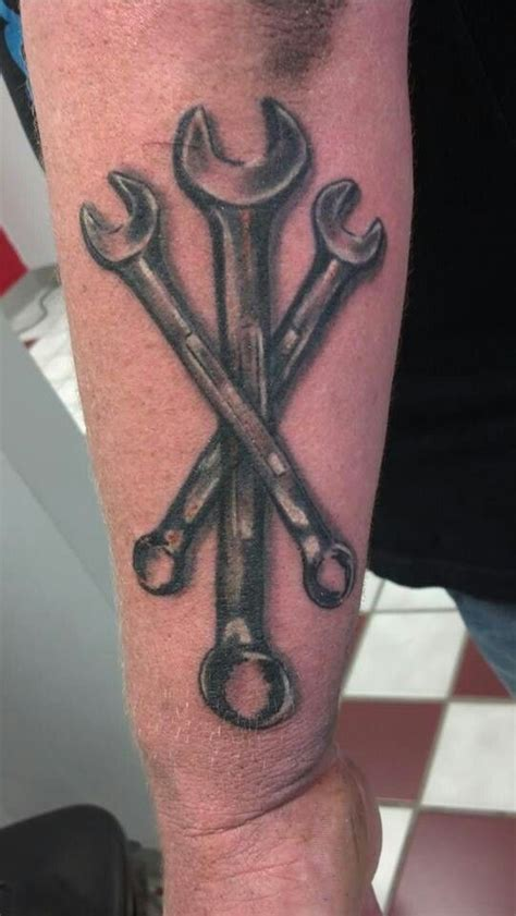 wrench tattoo wrench mechanic done by matt riddle at fenton