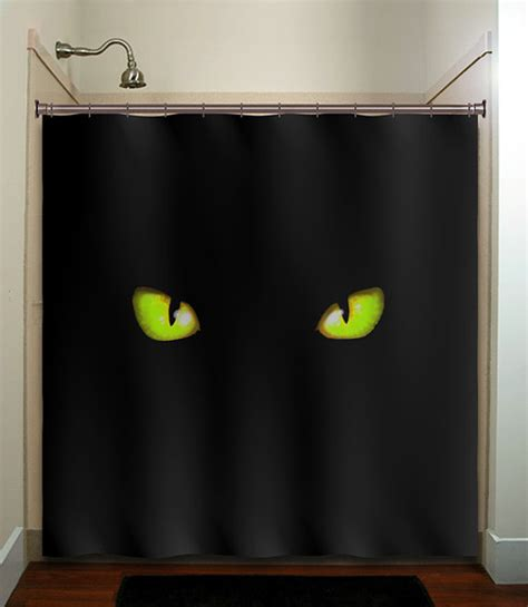 curtain over vision green eyes cat shower curtain bathroom from tablishedworks on