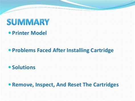 resetting hp envy 5532 resolving ink cartridge problem ppt