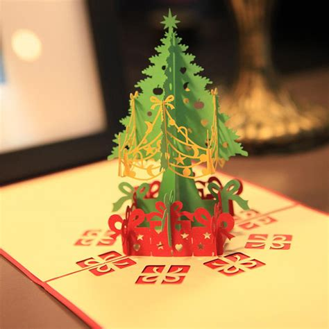 lasercut popup card template merry tree 3d card laser cut pop up paper
