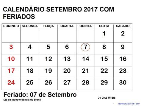 Calendã Setembro 2017 Para Imprimir Calendario Setembro 2017 Feriados Imprimir Calend 225