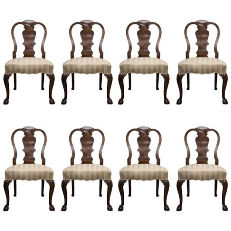 19th century set of eight queen anne influenced dining 19th century fine set of eight walnut queen anne style