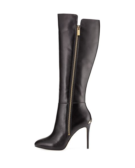 Michael Kors Clara 023 michael michael kors clara leather knee high boots in black lyst