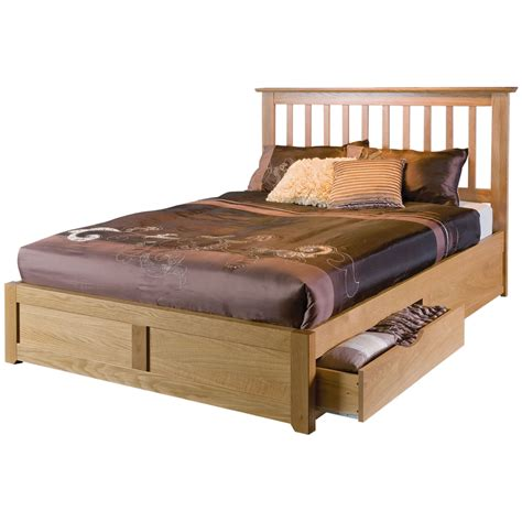 Pine Platform Bed Queen - cherry oak wood bed frame using white bed sheet combined with brown wooden chest of drawes
