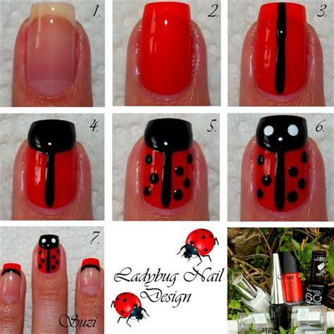 easy nail art ladybug ladybug nails nail art gallery step by step tutorial photos