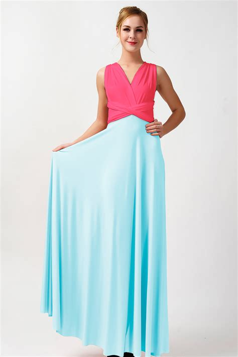 two color dress two tone infinity dress bridesmaid dress pink and baby