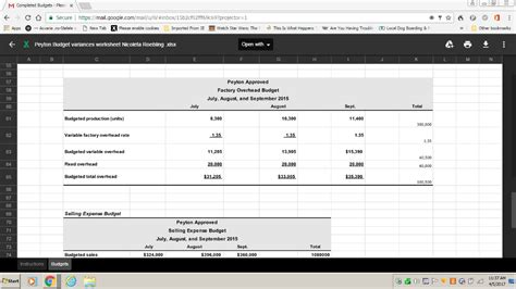 variance report template project use all data provided in the budget worksheets to