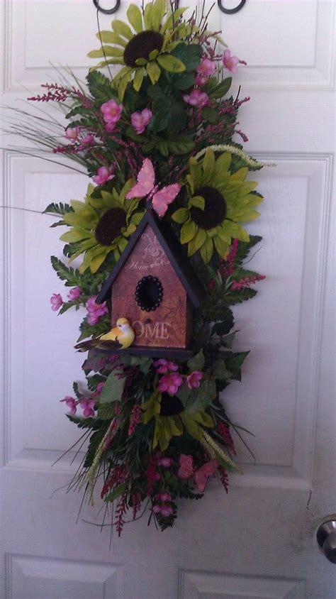bird house floral doorwall swag decor diy