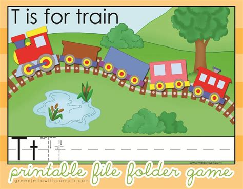 pattern trains kindergarten t is for train printable file folder by greenjello craftsy