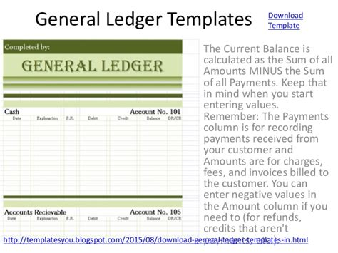 General Ledger Templates Excel Format Accounting Ledger Template Excel