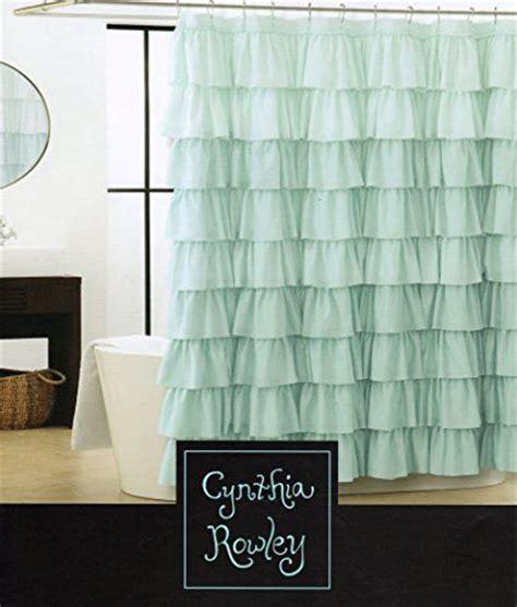 gypsy ruffled shower curtain cynthia rowley light aqua blue turquoise shabby chic ruffled tiers fabric shower curtain gypsy
