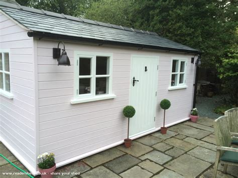 Craft Sheds | pink craft shed cabin summerhouse from garden owned by