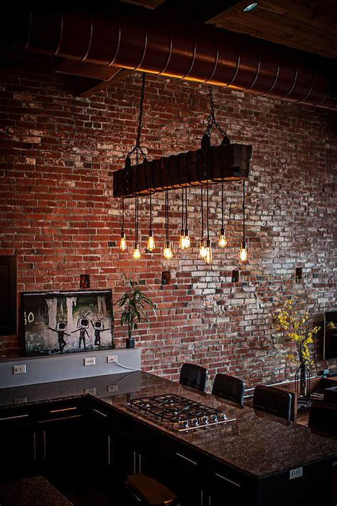 exposed brick wall lighting dashing urban loft uses contrasting textures to create