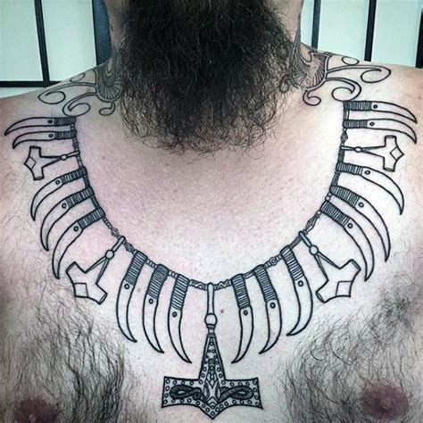 necklace tattoo designs for men 70 mjolnir designs for hammer of thor ideas