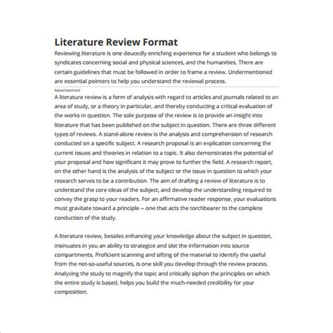 literature review template 6 literature review outline templates free word pdf