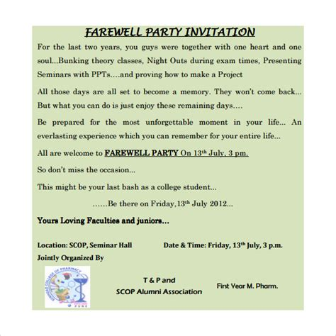 farewell invitation template 8 download documents in