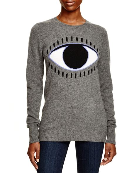 Mk2082 Eye Sweater Grey aqua evil eye intarsia sweater in gray lyst