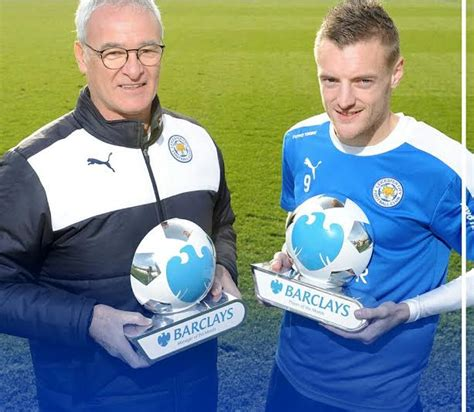 epl november player of the month vardy ranieri win epl november player manager of the