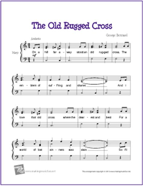 The Rugged Cross Violin Sheet by The Rugged Cross Free Easy Harp Sheet