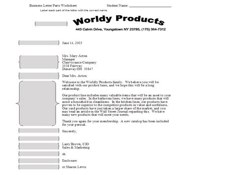 business letter writing worksheets parts of a business letter worksheet thinglink