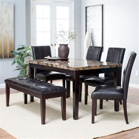 finley home palazzo 6 dining set with bench dining