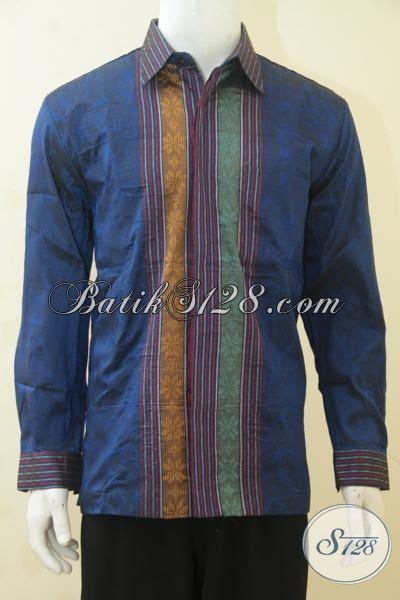 Kemeja Batik Lengan Panjang Motif Songket Prada Halus Ready Seragam kemeja tenun lengan panjang warna biru baju tenun pejabat kwalitas halus motif keren daleman