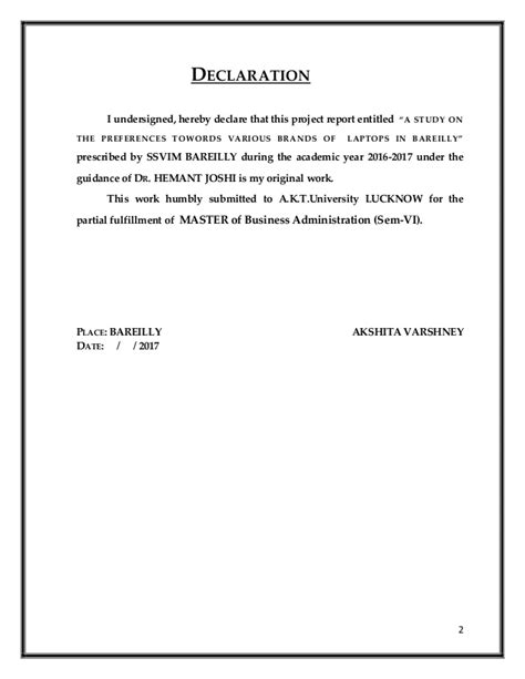 Mba 4th Sem Project Report In Finance by A Project Report Mba Year Quot A Study On The