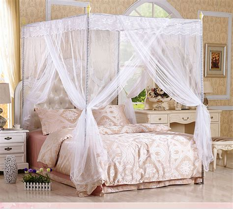 Lace Bed Canopy Free Shipping 4 Corners Post Lace Bed Curtain Canopy Mosquito Net No Frame Holder Can059 In