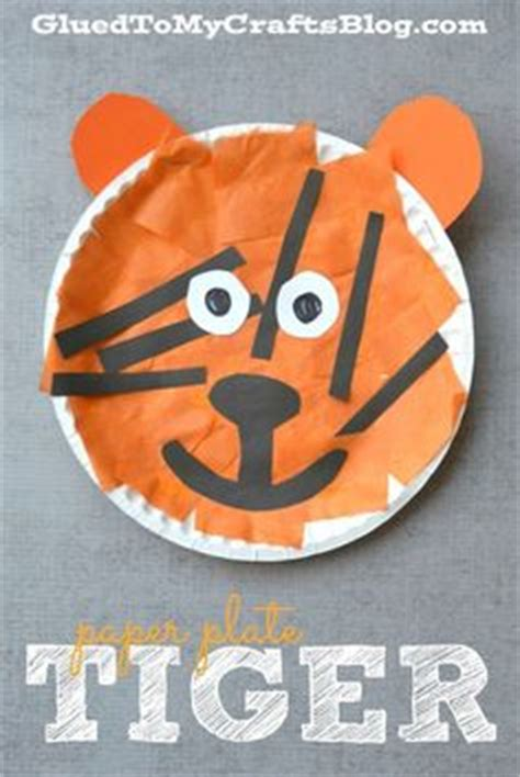 Tiger Paper Plate Craft - dieren on dieren knutselen and craft