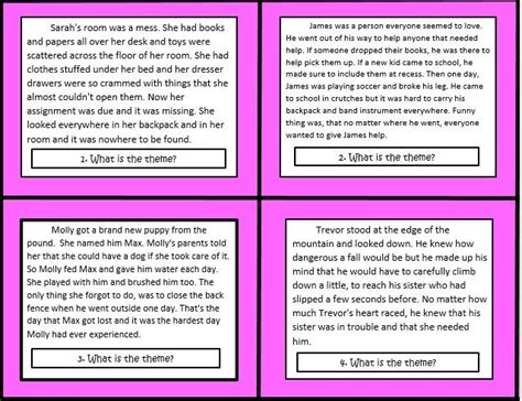common themes in literature grade 5 task cards for themes in literature common core 4th and