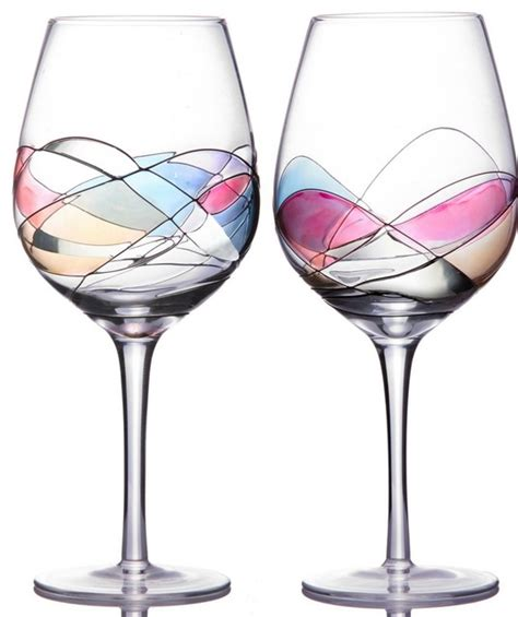 unique wine glasses sonoma artisan collection unique wine glasses set of 2