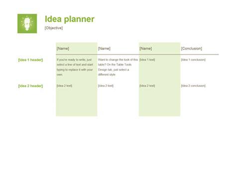 Idea Planner Office Templates Project Idea Template