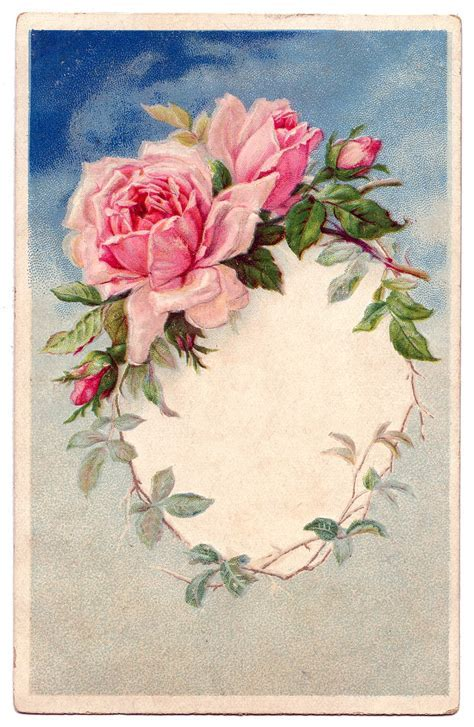 Vintage Rose Wreath Frame GraphicsFairy23   The Graphics Fairy