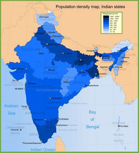 distribution map india population density map