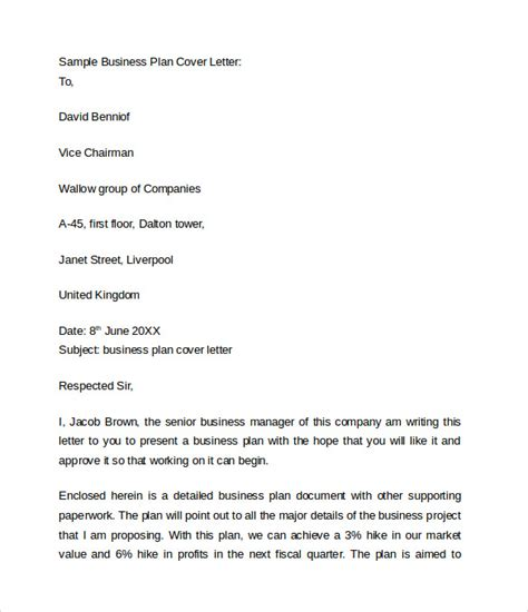 cover letter template business plan business cover letter 8 free sles exles format