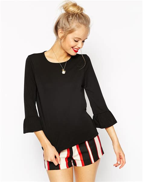 Bell Sleeve Top asos top in crepe with bell sleeve in black lyst