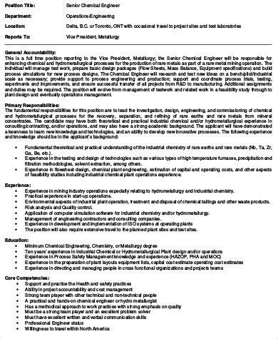 chemical engineering job description sle 10 exles