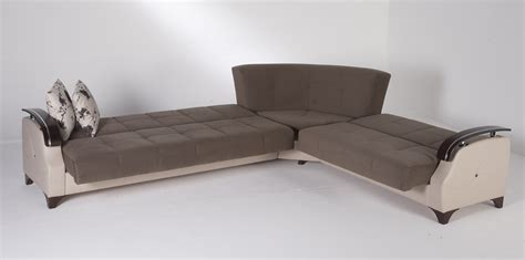 Contemporary Sectional Sleeper Sofa Leather Folding Sectional Sleeper Sofa With Gray Linen Fabric Padded Seat And Black