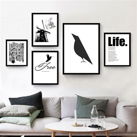 poster wohnzimmer modern nordic minimalist black white animals bird