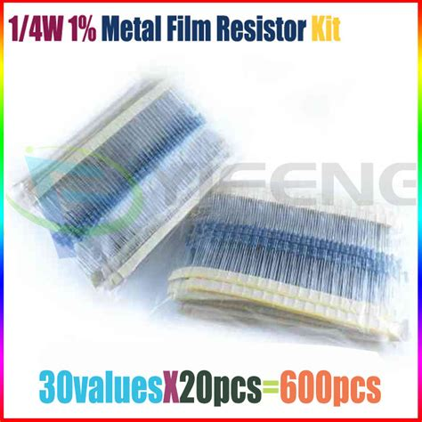 1 4 w metal resistor assortment aliexpress buy free shipping 600 pcs 1 4w 1 30 kinds each value metal resistor