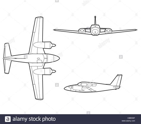 aeromodelli di carta volanti 3 view aircraft line drawing pa 30 comanche stock