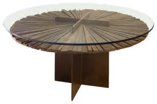 mandala dining table salvaged wood and glass top