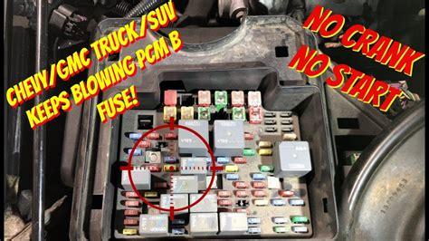 chevy silverado not starting no power at crank fuse chevy gmc truck or suv no crank no start pcm b fuse keeps blowing