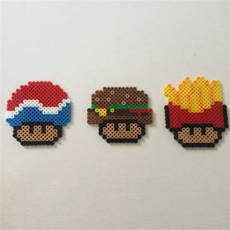 perler bead food items similar to perler bead fast food mushrooms on etsy