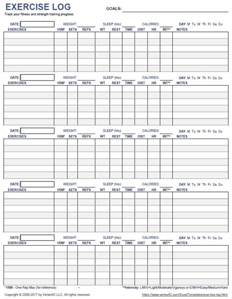 Free Printable Exercise Log And Blank Exercise Log Template Free Exercise Log Template
