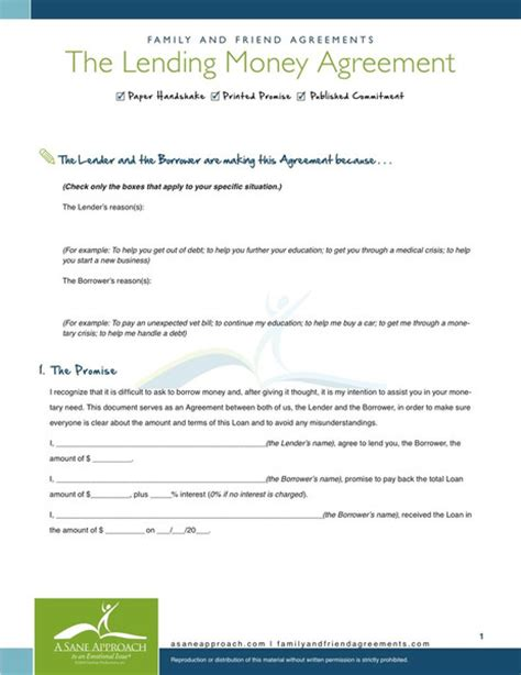 money agreement template 10 best images of borrow money agreement sle personal
